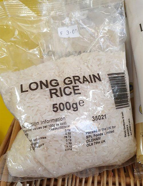 Long grain rice 500g.