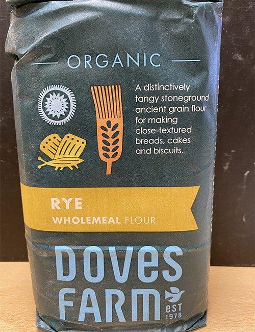 Doves Farm Organic Rye Wholemeal Flour.